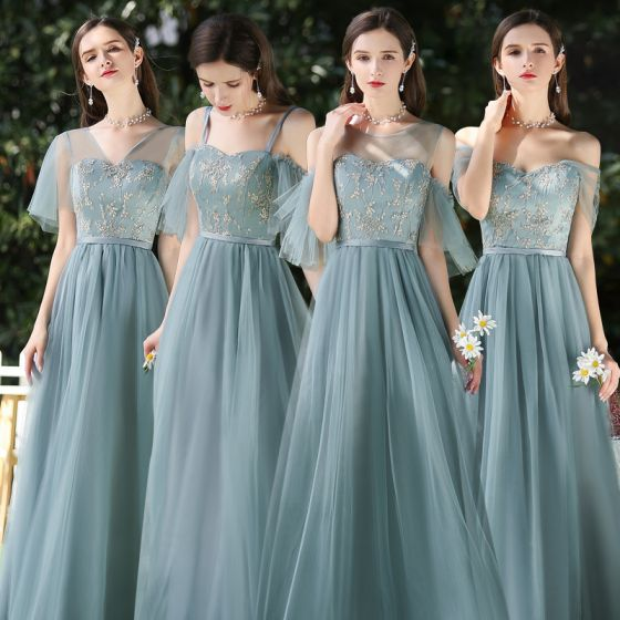 Affordable Ocean Blue Bridesmaid Dresses 2020 A-Line / Princess Backless Appliques Lace Sash Floor-Length / Long Ruffle