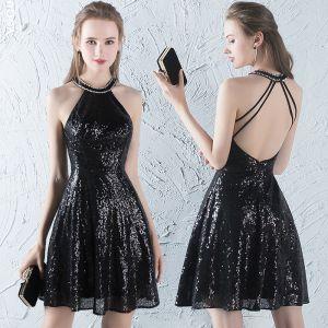 Sparkly Glitter Party Dresses 2017 Black Sequins Short A-Line / Princess Halter Sleeveless Backless Formal Dresses