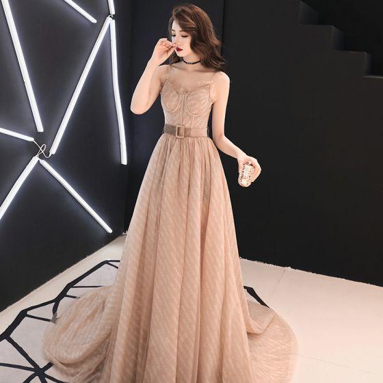 Elegant Champagne Evening Dresses  2019 A-Line / Princess Spaghetti Straps Sleeveless Sash Split Front Court Train Ruffle Backless Formal Dresses