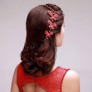 Style Chinois Strass Rouge Mariée Coiffure / Fleur Tete / Accessoires De Cheveux De Mariage / Bijoux De Mariage