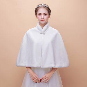 Witte Winter Hoge Kraag Nep Bont Huwelijk Gala Jassen / Jacks 2017