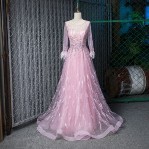 Fabulous Blushing Pink See-through Evening Dresses  2019 A-Line / Princess Scoop Neck 3/4 Sleeve Feather Handmade  Beading Floor-Length / Long Ruffle Formal Dresses