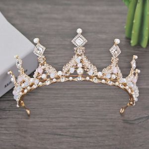 Chic / Beautiful Gold Bridal Jewelry 2018 Metal Pearl Crystal Rhinestone Tiara Wedding Accessories