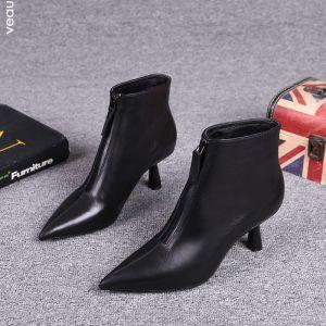 Enkel Svart Gateklær Lær Kvinners støvler 2021 Ankel 6 cm Stiletthæler Spisse Boots