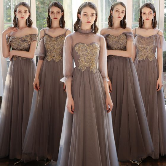 Affordable Brown Bridesmaid Dresses 2020 A-Line / Princess Beading Floor-Length / Long Ruffle Wedding Party Dresses