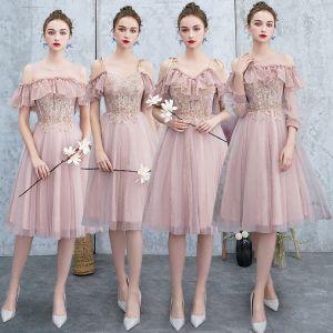 Beste Rosa Brautjungfernkleider 2019 A Linie Applikationen Spitze Perlenstickerei Glanz Tülle Knielang Rüschen Rückenfreies Kleider Für Hochzeit