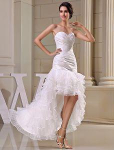 Sweetheart Mignon Volants En Cascade Robe De Mariage Asymétriques De Robe De Mariée