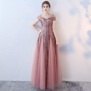 Unique Rosa Abendkleider 2017 A Linie Durchbohrt V-Ausschnitt Kurze Ärmel Perlenstickerei Pailletten Lange Rüschen Rückenfreies Festliche Kleider