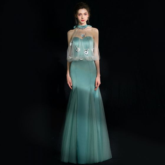 Charming Jade Green Evening Dresses  2018 Trumpet / Mermaid Crystal Rhinestone Bow Halter Backless Sleeveless Floor-Length / Long Formal Dresses