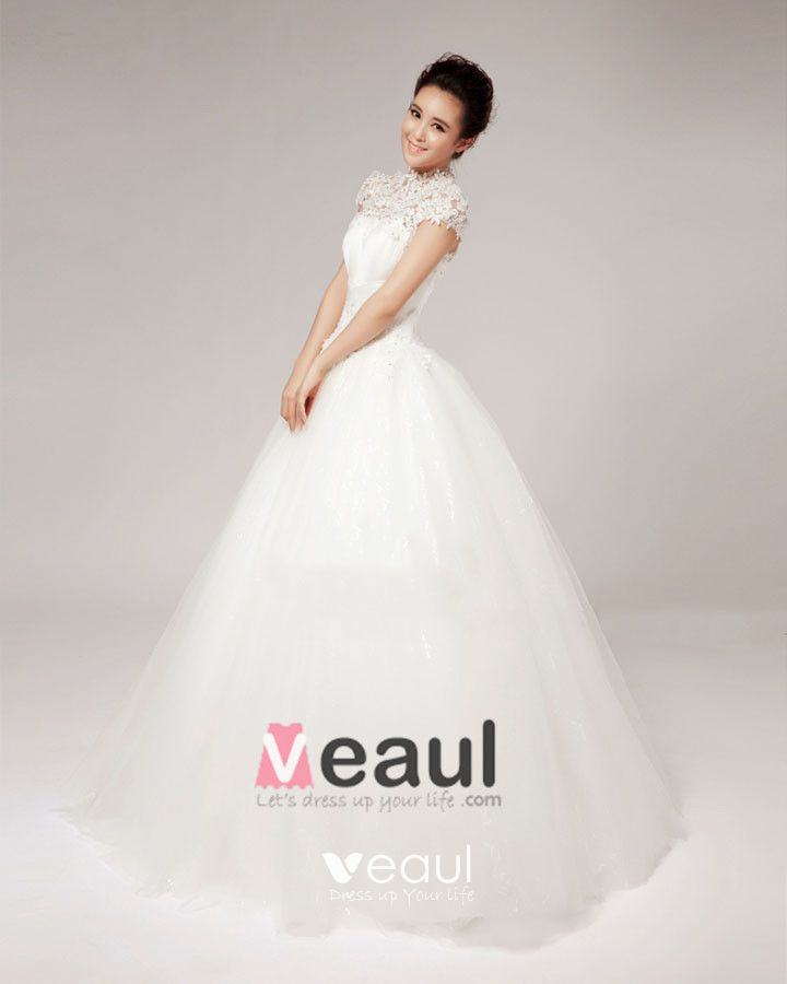 High Neck Beading Flower Floor Length Lace A Line Wedding Dress