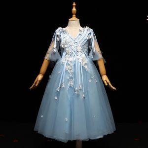 Schöne Blau Mädchenkleider 2017 Applikationen Quaste Perle V-Ausschnitt Rückenfreies 1/2 Ärmel Knöchellänge A Linie Kleider Für Hochzeit