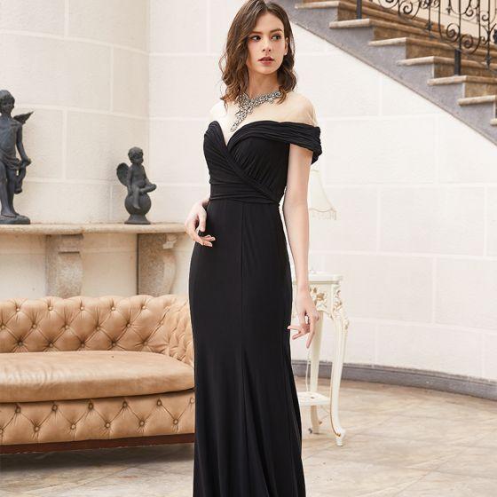 Wysokiej Klasy Czarne Sukienki Wieczorowe 2020 Syrena / Rozkloszowane Przezroczyste Wysokiej Szyi Kótkie Rękawy Frezowanie Rhinestone Trenem Sweep Sukienki Wizytowe