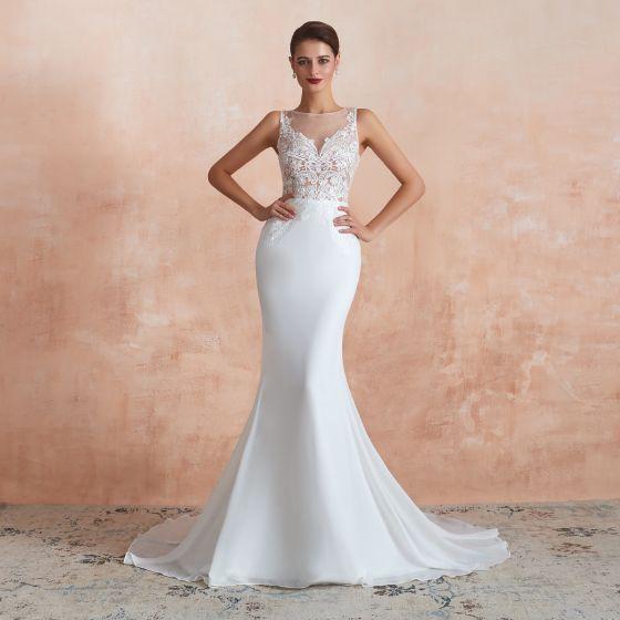 Illusion See-through White Chiffon Wedding Dresses 2020 Trumpet / Mermaid Square Neckline Sleeveless Appliques Lace Court Train Ruffle