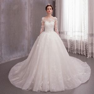 Romantic Ivory See-through Wedding Dresses 2020 Ball Gown Scoop Neck Long Sleeve Backless Glitter Tulle Appliques Lace Flower Beading Chapel Train Ruffle