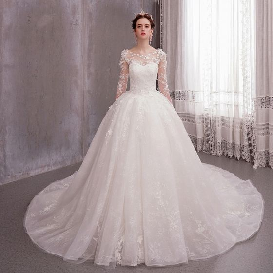 Dressv Ivory Wedding Dress Strapless Long Sleeves Chapel: Romantic Ivory See-through Wedding Dresses 2020 Ball Gown