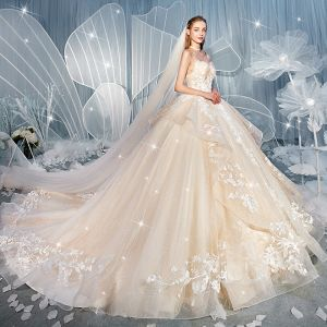Chic / Beautiful Champagne Wedding Dresses 2019 Ball Gown Spaghetti Straps Sleeveless Backless Glitter Tulle Appliques Lace Chapel Train Cascading Ruffles