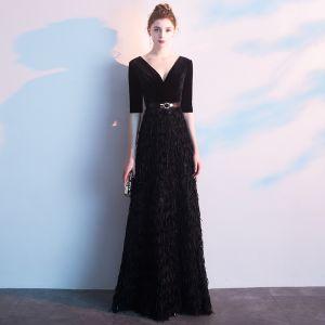 Charming Black Evening Dresses  2019 A-Line / Princess Deep V-Neck Suede Tassel Sash 1/2 Sleeves Floor-Length / Long Formal Dresses