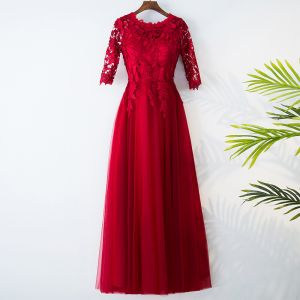 Chic / Beautiful Red Evening Dresses  2017 A-Line / Princess Lace Flower Scoop Neck Zipper Up 3/4 Sleeve Ankle Length Evening Party
