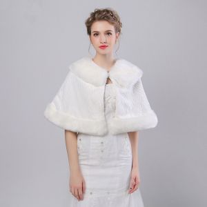 White Winter Faux Fur Striped Prom Evening Party Wedding Shawls 2017