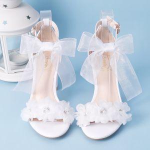 Fine Hvit Hage / utendørs Sandaler Dame 2020 Sløyfe Ankelstropp Perle Rhinestone 7 cm Stiletthæler Peep Toe Sandaler