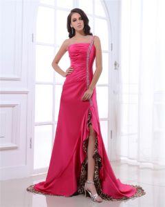 Une Epaule Perles Etage Longueur Taffetas Plisse Perles En Mousseline De Soie Robe De Bal Femme Plisse