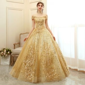 Elegant Gold Prom Dresses 2020 Ball Gown Off-The-Shoulder Short Sleeve Appliques Lace Glitter Tulle Floor-Length / Long Ruffle Backless Formal Dresses