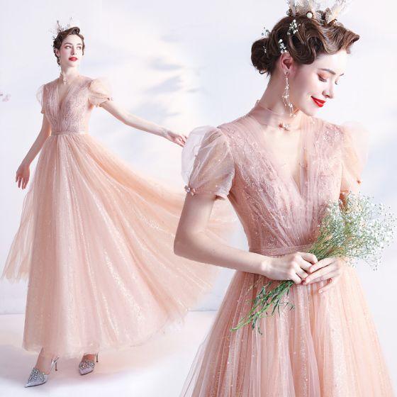 Mode Rodnande Rosa Hemkomst Studentklänningar 2021 Prinsessa Hög Hals Beading Pärla Paljetter Korta ärm Halterneck Långa Formella Klänningar