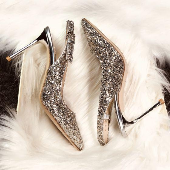 Scintillantes Champagne Soirée Chaussures Femmes 2019 Boucle Cuir Paillettes Faux Diamant 9 cm Talons Aiguilles À Bout Pointu Talons Hauts