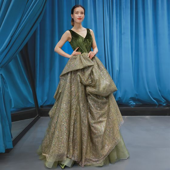 High-end Clover Green Suede Dancing Prom Dresses 2020 A-Line / Princess V-Neck Sleeveless Glitter Tulle Floor-Length / Long Ruffle Backless Formal Dresses