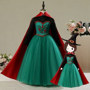 Frozen Costume Dark Green Birthday Flower Girl Dresses With Cloak 2020 A-Line / Princess High Neck Long Sleeve Beading Floor-Length / Long