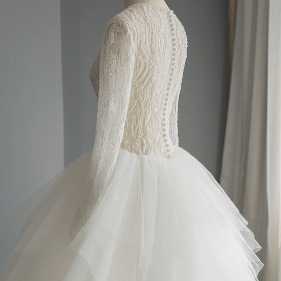 Luxury / Gorgeous Ivory Pierced Wedding Dresses 2019 A-Line / Princess Scoop Neck Long Sleeve Handmade  Beading Chapel Train Ruffle