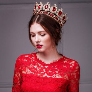 Golden Retro Imitation Red Ruby Crown / Plus Size Headdress