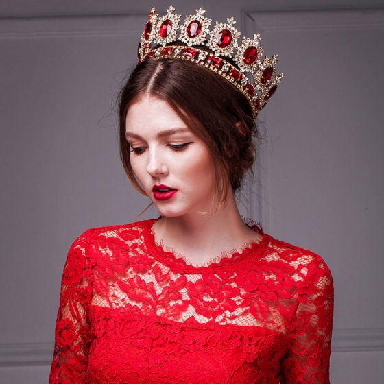 Golden Retro Imitation Red Ruby Crown / Plus Size Headdress