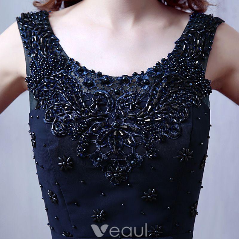 Robes De Soirée Glamour De 2016 Encolure Perles Appliques De Dentelle Marine Foncé En Mousseline De Soie Robe Longue