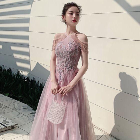 Elegante Pink Abendkleider 2020 A Linie Rundhalsausschnitt Ärmellos Applikationen Spitze Perlenstickerei Glanz Tülle Lange Rüschen Rückenfreies Festliche Kleider