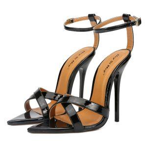 Enkel Svart Gateklær Sandaler Dame 2020 Ankelstropp 13 cm Stiletthæler Peep Toe Sandaler