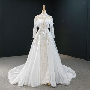Luxury / Gorgeous White Pearl Feather Wedding Dresses 2020 A-Line / Princess High Neck Long Sleeve Backless Sequins Detachable Court Train Ruffle