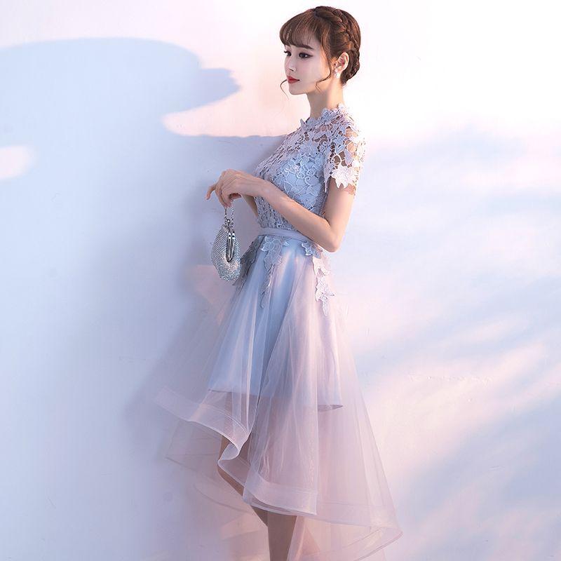 Affordable Hall Formal Dresses 2017 Graduation Dresses Silver Asymmetrical A-Line / Princess Sash Cascading Ruffles Short Sleeve High Neck Lace Appliques