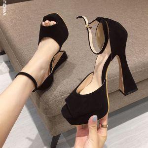 Schöne Schwarz Strassenmode Knöchelriemen Sandalen Damen 2020 Polyester 13 cm Stilettos Peeptoes Sandaletten