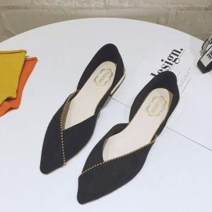 Modest / Simple Black Casual Suede Womens Shoes 2020 Pointed Toe Flat