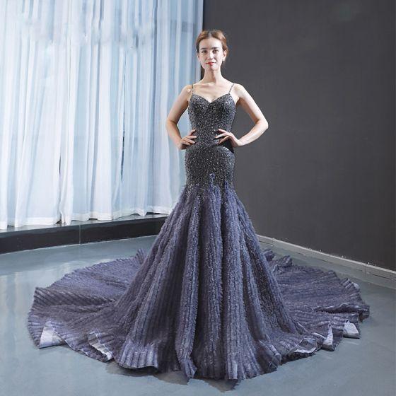 Luxury / Gorgeous Navy Blue Red Carpet Evening Dresses  2020 Trumpet / Mermaid Spaghetti Straps Sleeveless Handmade  Beading Cathedral Train Ruffle Backless Formal Dresses