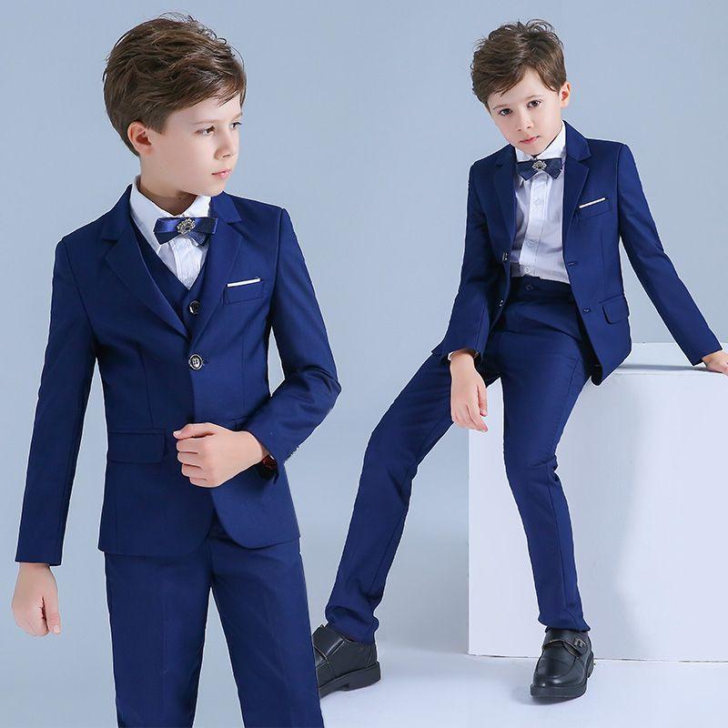 Bleu Roi Costumes De Mariage pour garçons 2019 Manches Longues Manteau Chemise