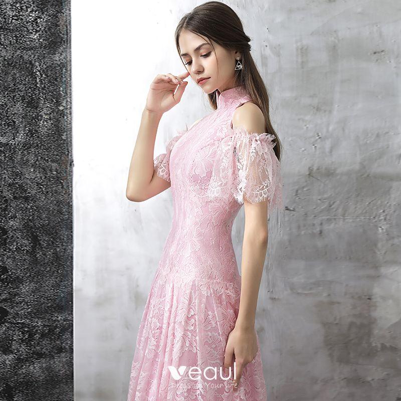 Vintage Rosa Abendkleider 2017 A Linie Stehkragen Kurze ...