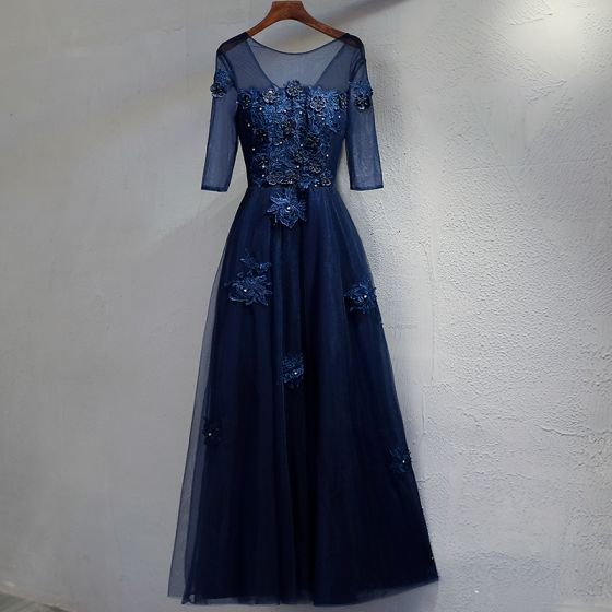 Chic / Belle Bleu Marine Robe De Soirée 2017 Princesse En Dentelle Fleur Cristal Perlage Encolure Dégagée Dos Nu 3/4 Manches Longueur Cheville Robe De Ceremonie