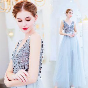 Charming Silver Evening Dresses  2019 A-Line / Princess V-Neck Beading Sequins Sleeveless Backless Floor-Length / Long Formal Dresses