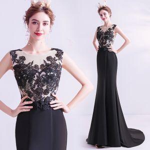 Elegant Black Evening Dresses  2020 Trumpet / Mermaid Scoop Neck Lace Flower Sleeveless Sweep Train Formal Dresses