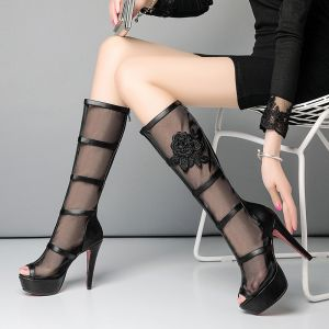 Amazing / Unique Casual Womens Boots 2017 Tulle High Heels Embroidered Pierced Platform High Heel Open / Peep Toe Mid Calf Boots