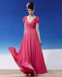V Cou Fleur Wrap Ruche D'epaule Longueur Chiffon Robes De Soirée De La Femme De Plancher Sans Manches Dos Nu
