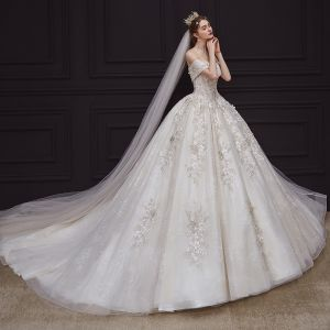 Luxury / Gorgeous Champagne Bridal Wedding Dresses 2020 Ball Gown Off-The-Shoulder Short Sleeve Backless Appliques Flower Beading Chapel Train Ruffle