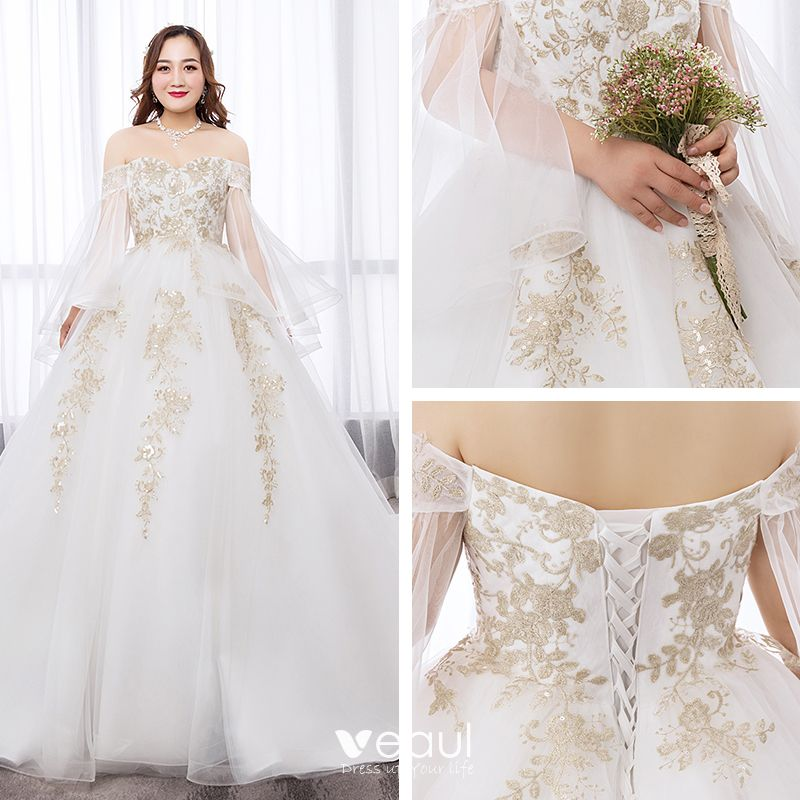 Dressv Ivory Wedding Dress Strapless Long Sleeves Chapel: Chic / Beautiful White Ball Gown Plus Size Wedding Dresses